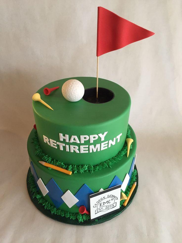 Golf cake   retirement cake   fondant   argyle   tees   golf ball   green   argyle   sports cake