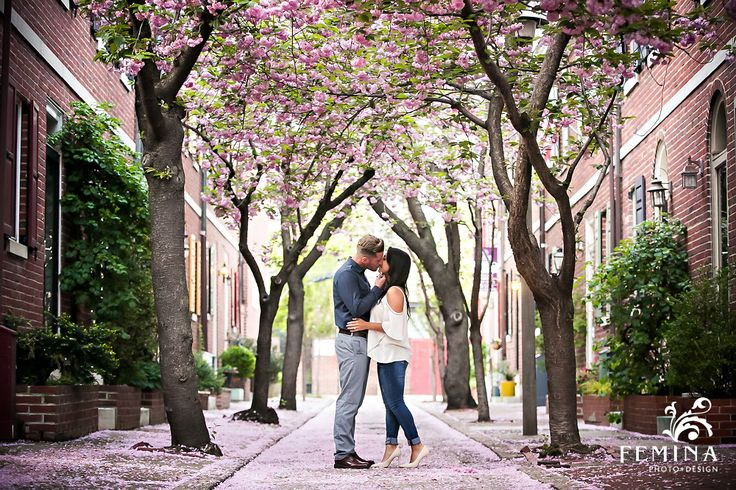 Cherry blossom Philadelphia engagement photos | Femina Photo + Design