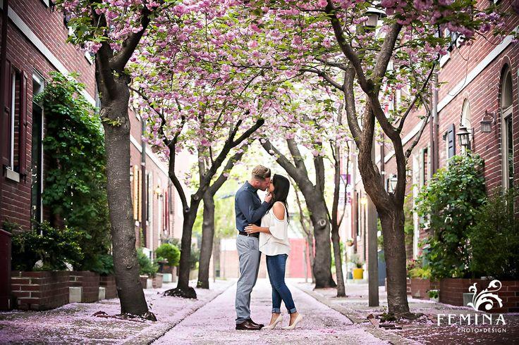 Cherry blossom Philadelphia engagement photos | Femina Photo + Design