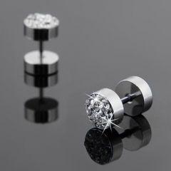 Kristal Taşlı Gümüş Renk Çelik Sevgili Küpe Seti
