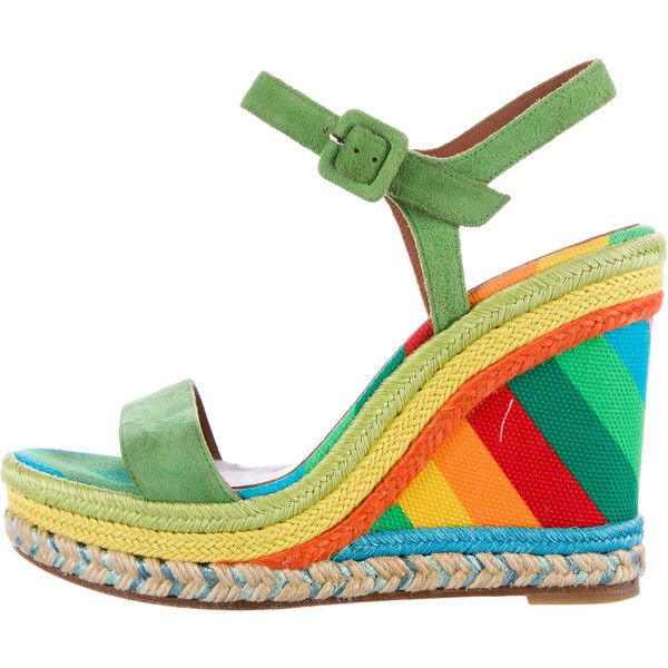 Pre-owned Valentino 1973 Espadrille Wedges ($350) ❤ liked on Polyvore featuring shoes, sandals, green, valentino sandals, ankle wrap wedge sandals, ankle tie wedge sandals, valentino espadrilles and wedge heel sandals