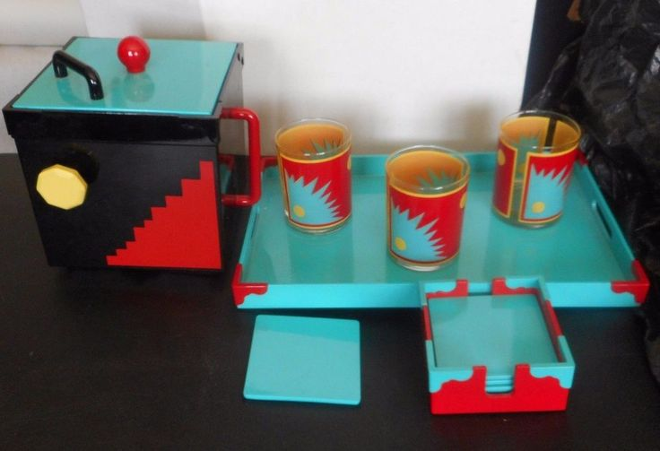 GEORGES BRIARD Mid Century Modern Serving Tray 3 Glasses 5 Coasters & Ice Bucket