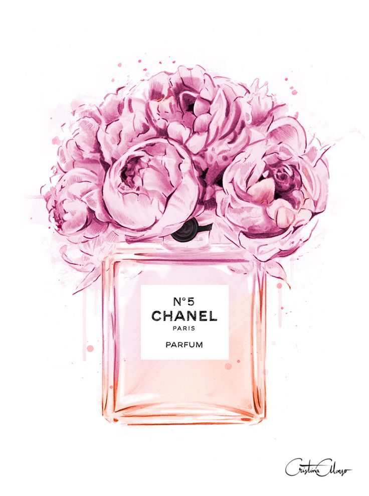 Cristina Alonso, Peonies A Coco, Chanel 5, Parfum, Fashion illustration