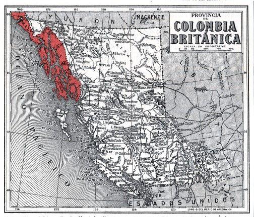 A mediados del siglo XVIII, el Imperio ruso envió a sus exploradores a tomar posesión de las tierras de Alaska, y sus expediciones descendieron por la costa oeste de Norteamérica. Si miras este mapa de la Colombia Británica, observarás, señalado en rojo, que el Imperio Ruso fue extendiendo sus posesiones de Alaska a lo largo de la costa hasta llegar cada vez más al sur.