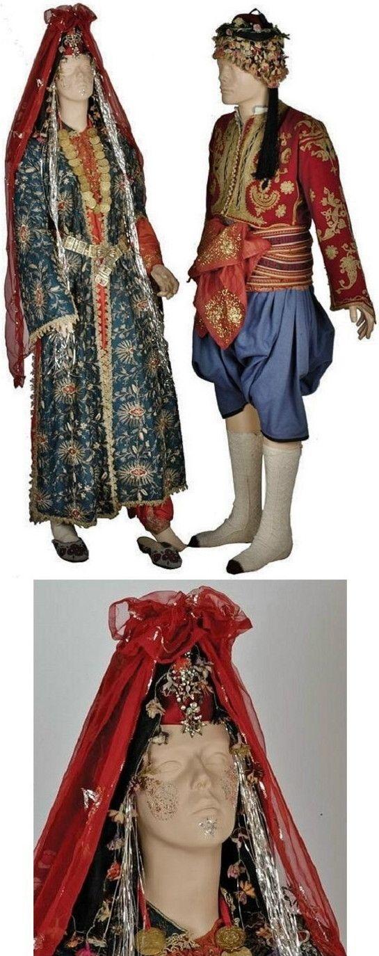 Traditional wedding costumes from Kuşadası (mostwestern district of the Aydın province).  Ca. 1920s.