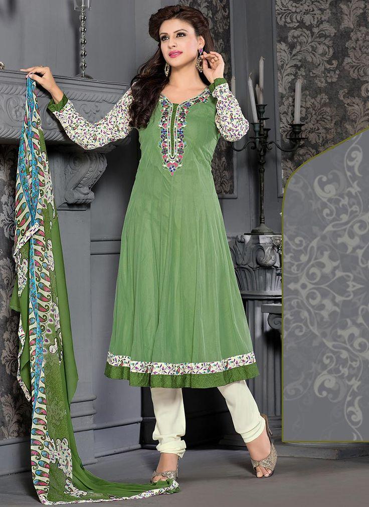 Admirable Green Softnet Anarkali Suit
