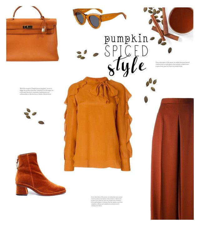 """""""highly spiced"""" by gabrielleleroy ❤ liked on Polyvore featuring Hermès, See by Chloé, CÉLINE, Reike Nen, Alexander McQueen, polyvoreeditorial and pumpkinspice"""