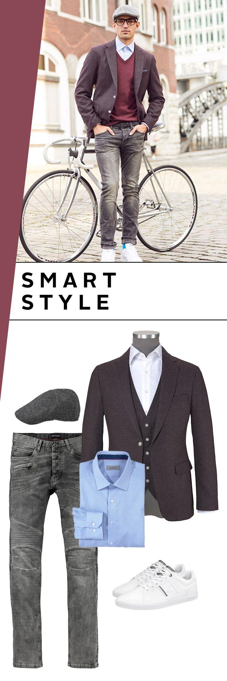 Smart unterwegs in Freizeit und Business! Mit der elegant-coolen Kombi aus V-Pullover, Sakko, Jeans und lässiger Schiebermütze sind echte Männer bei jedem Anlass außergewöhnlich gut gekleidet – und voll im Trend!
