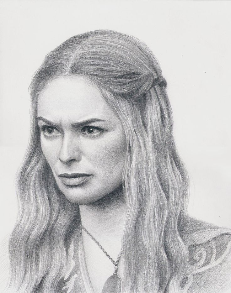Game of Thrones fan art Cersei Lannister actress Lena Headey, Original pencil drawing portrait, GOT by Korobov