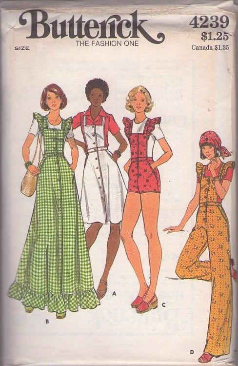 MOMSPatterns Vintage Sewing Patterns - Butterick 4239 Vintage 70's Sewing Pattern SO CUTE Ruffled Pinafore Sleeve Bib Shorts, Apron Sun Dress, Maxi Dress, Overalls Size 12