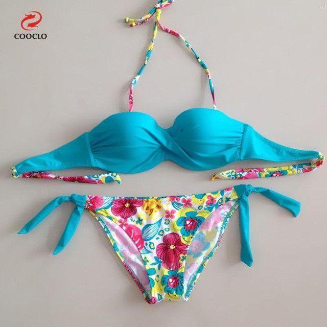 floral print bikini bandeau top sexy bikini women swimwear multi color biquinis brazilian new style swimsuit