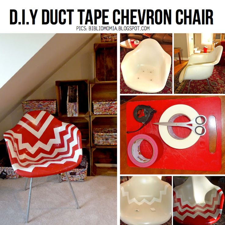 Easy Upcycle for Old furniture with duct tape (chevron chair!)