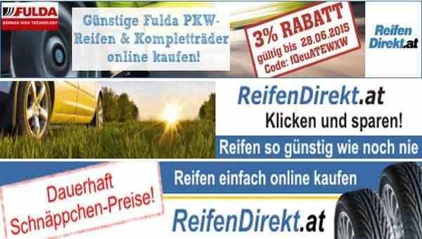 Reifen Rabattcode für Österreich. 3% Rabatt auf Fulda-PKW-Reifen und Kompletträder