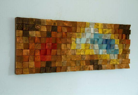 Arte de pared de madera mosaico de arte madera por ArtGlamourSligo