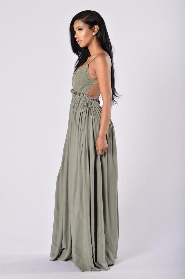 - Maxi Length - Crochet Top - Open Back - Frayed Hem - Lined Self: 100% Rayon - Lining: 100% Polyester - Contrast: 100% Cotton