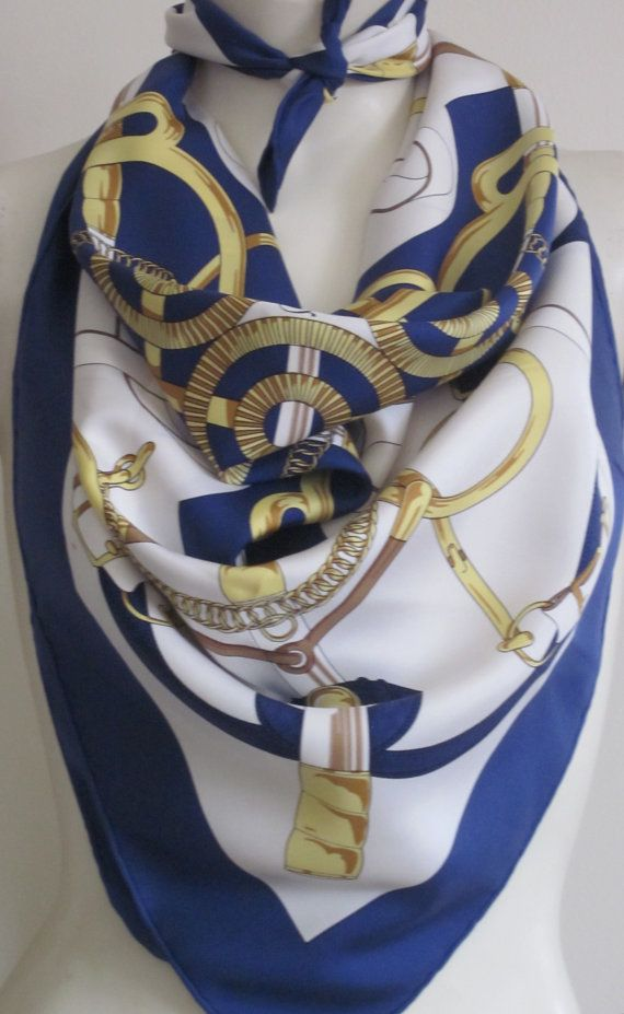 Vintage Hermes scarf with T-shirt and bluejeans - don't forget the sunglasses!
