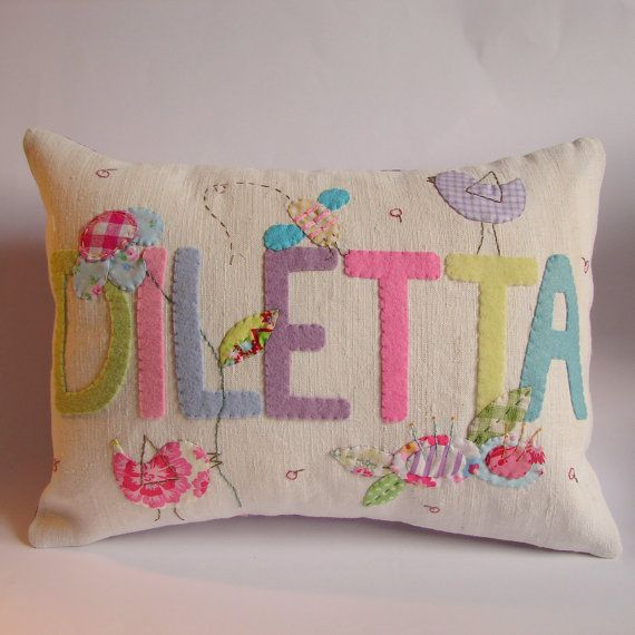 Custom made name cushion slip by roxycreations on Etsy