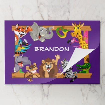 Kids Name Jungle Safari Animals Purple Placemat - kids kid child gift idea diy personalize design