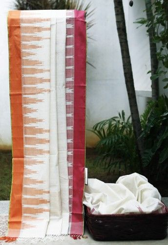 Lakshmi Temple border khadi cotton handloom saree Now what could be an interesting choice of colour for to blouse?