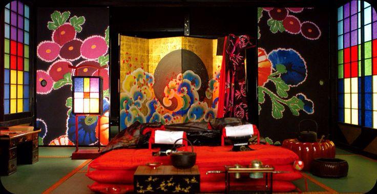 Japanese sliding doors and screen on the set of Sakuran the movie. Fusuma.