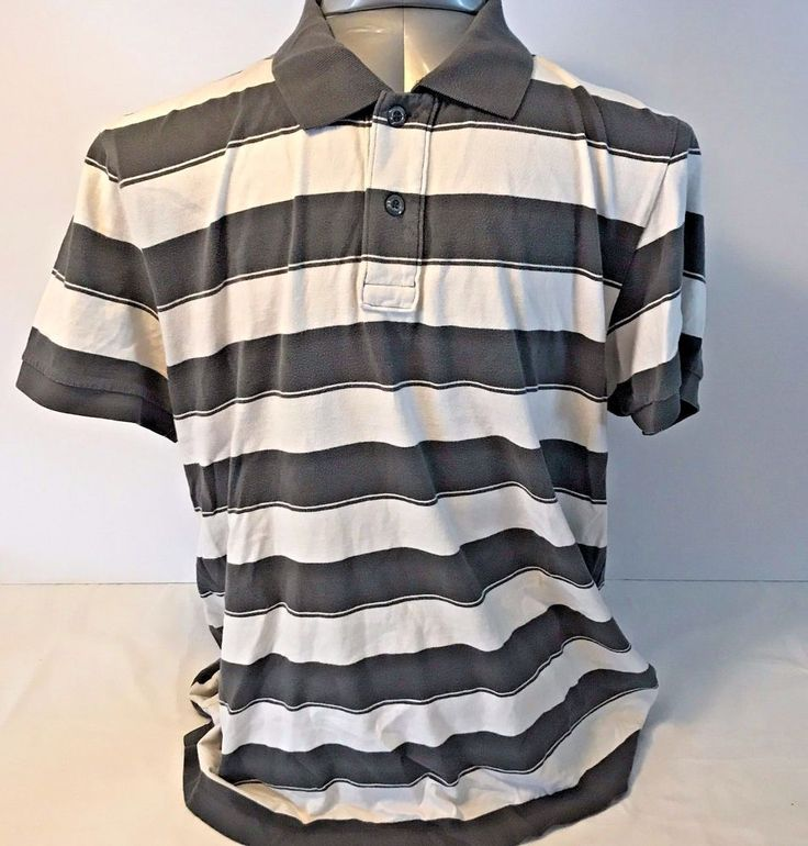 Converse Mens Button-Up Causal Size XXX Large Olive White Wide Stripe Polo #Converse #PoloRugby relist 11.19.17
