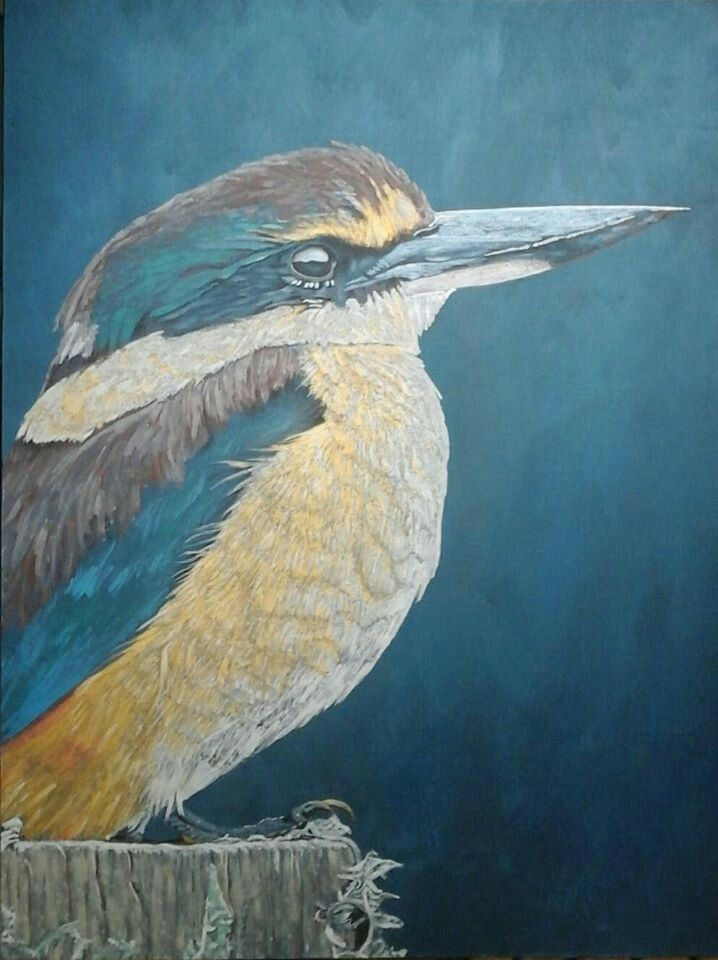 Surveying Solway - Kotare, NZ kingfisher in metallic acrylic on canvas - by Cherith Curtis