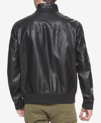 Tommy Hilfiger Faux-Leather Stand-Collar Bomber Jacket - Black XXL