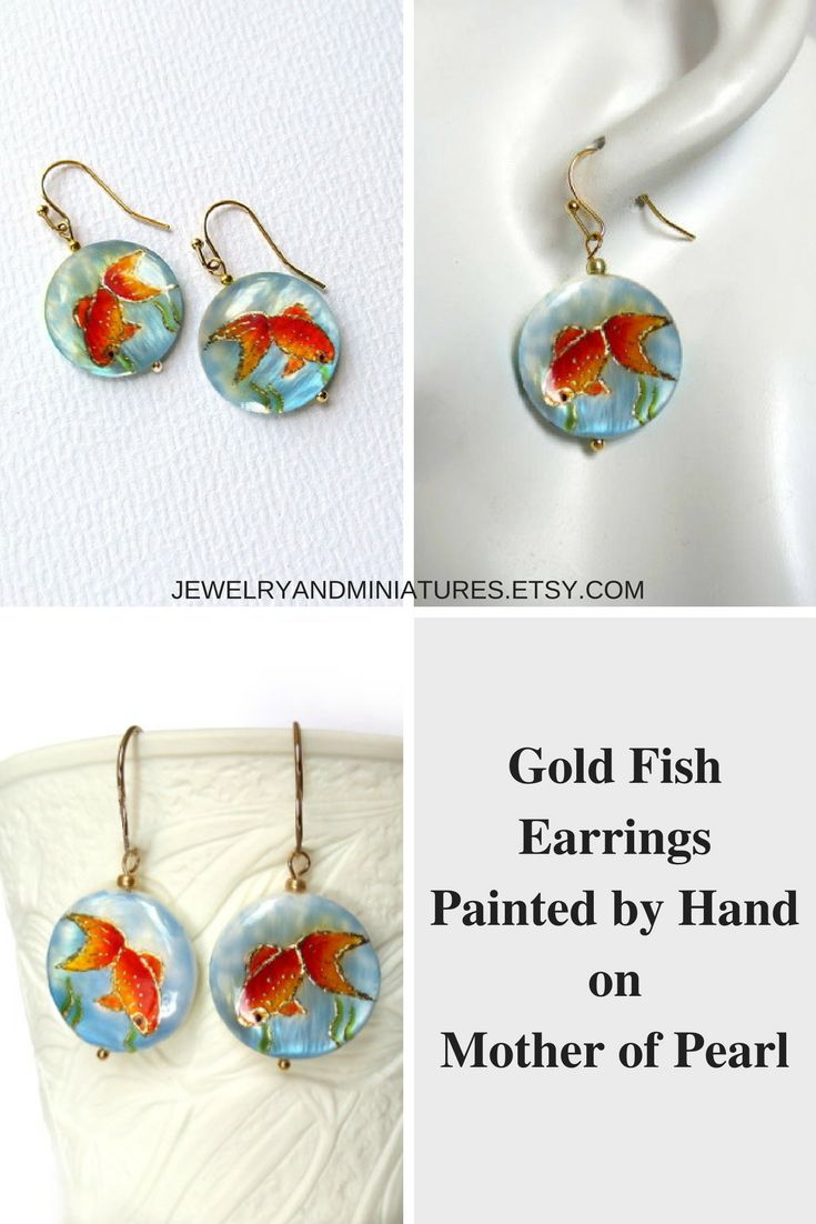 Gold Fish Earrings Hand Painted on Mother of Pearl, koi earrings
