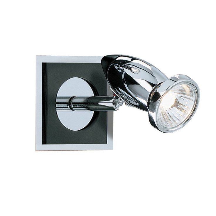 Searchlight 7491 Comet 1 Light Wall Spotlight Polished Chrome Black Quality Lighting By DUSHKA LTD