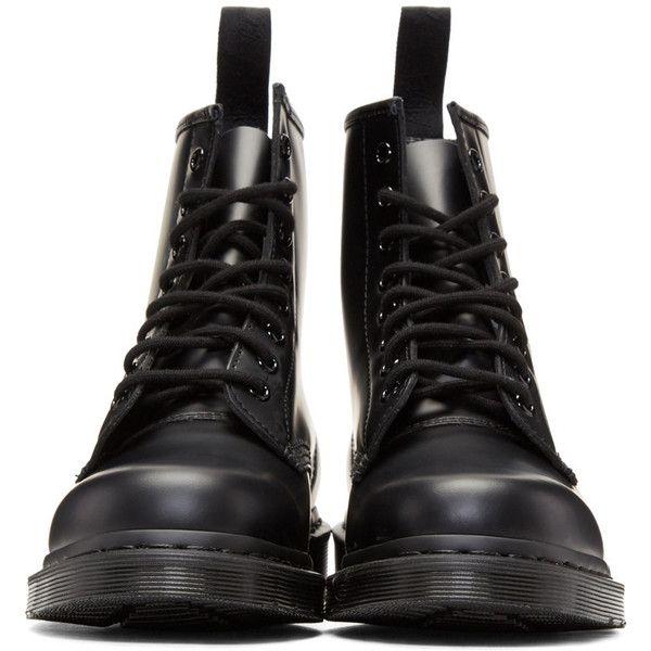 Dr. Martens Black 1460 Mono Boots ($145) ❤ liked on Polyvore featuring men's fashion, men's shoes, men's boots, shoes, dr martens mens boots, mens lace up boots, mens black boots, dr martens mens shoes and mens round toe shoes