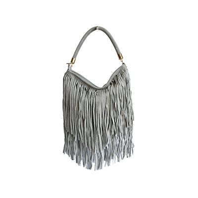 Alexis Italian Fringed Light Grey Suede Leather Hobo Satchel Bag - £49.99