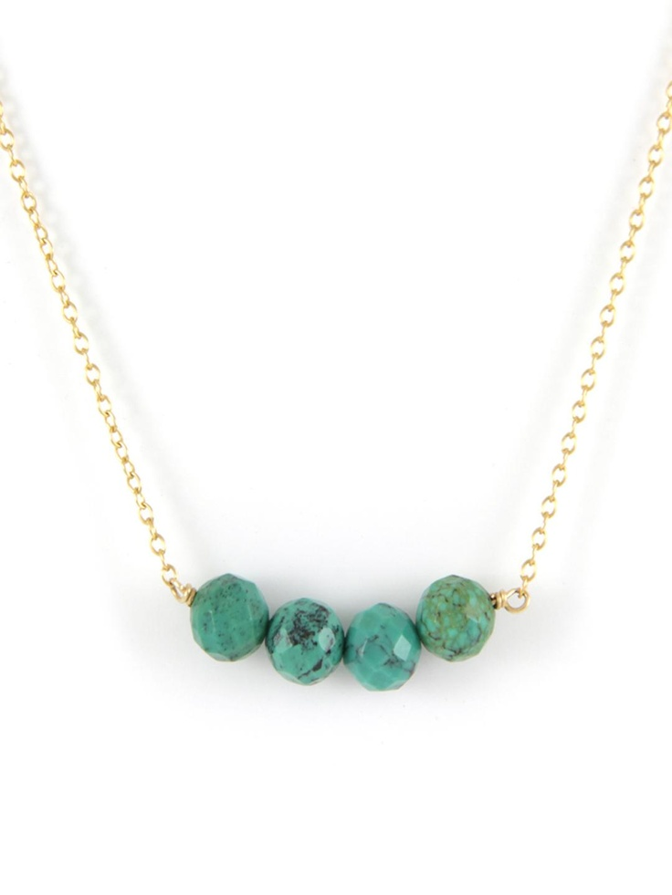 Ettika - Turquoise Semi Precious Stone Chain Necklace