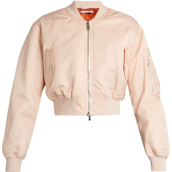 Givenchy Cropped twill bomber jacket ($2,335) ❤ liked on Polyvore featuring outerwear, jackets, light pink, padded jacket, blouson jacket, pink jacket, givenchy jacket and twill jacket