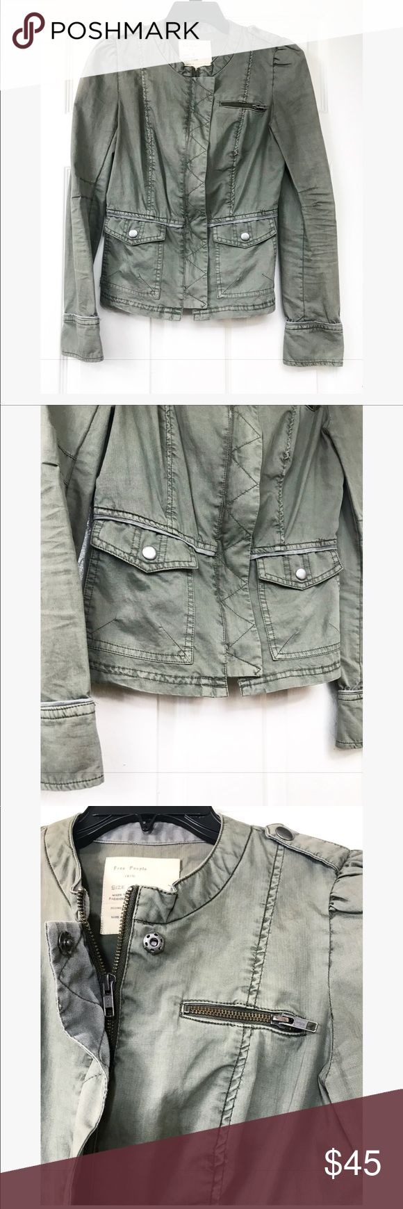 Free People Olive Green Military Jacket Beautiful free people green jacket , perfect for fall . Has adorable pocket with cute bottoms, side zippers and a full zipper down the middle . Has button front closure , falls under relaxed fit with a peplum back Free People Jackets & Coats