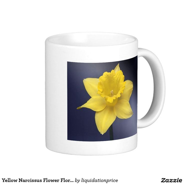 #Yellow #Narcissus #Flower Floral #watercolor #paint Classic White #Coffee #Mug