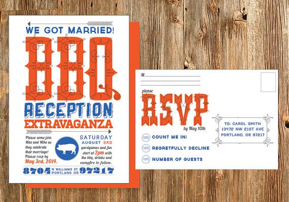 Casual customizable bbq wedding reception invitation with RSVP postcard. This is easy to print at home or send to an online printer.