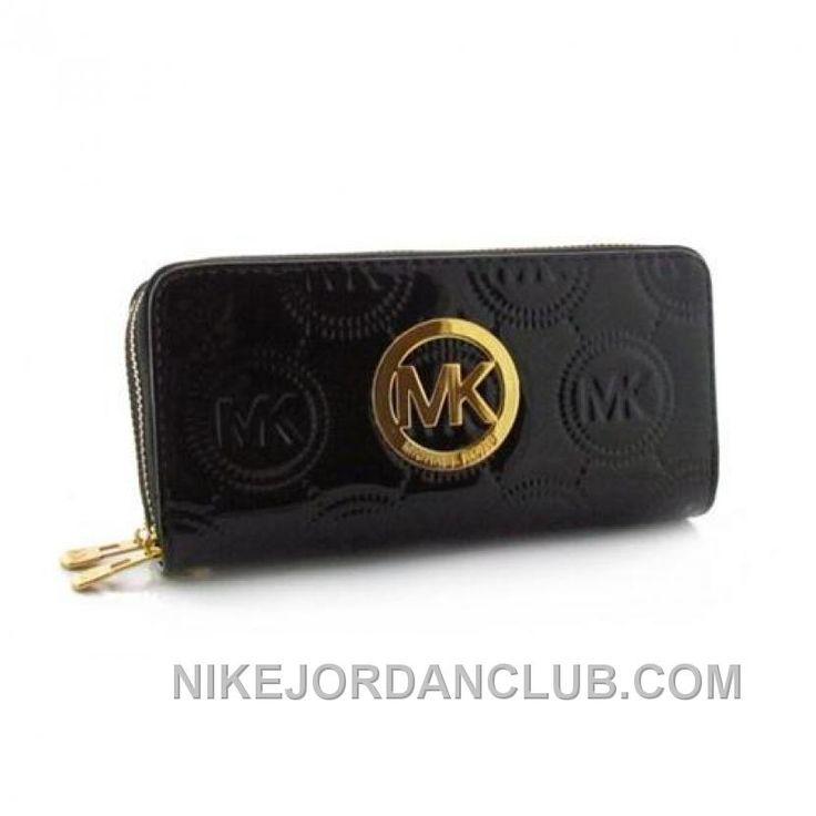 Michael Kors Monogram Continental Large Black Wallets Christmas Deals Cp6sK