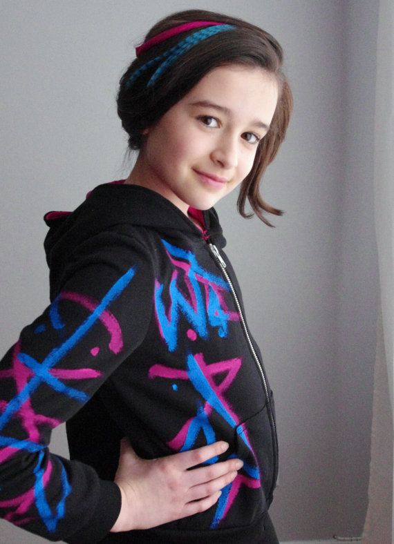 Wyldstyle hoodie with graffiti in 100 cotton by CatherineSoucy, Starting at $80.00.