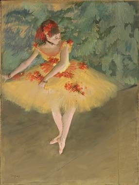 """Dancer Making Points,"" 1879-1880, by Edgar Degas, pastel and gouache on paper mounted on board from the Nelson-Atkins Museum of Art in Kansas City, Missouri."