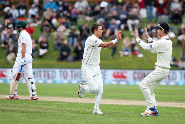 Dunedin: 2017-03-10 1st Test ANZ Series Day 3: New Zealand vs South Africa. Neil Wagner Produced A Powerful Cameo To Cap Off The New Zealand Innings. His 32 Runs Came From Two Sixes And Five Fours. The BlackCaps Took A 33 Run First Innings Lead. At Stumps On Day Three South Africa Were 38 For 1. Trent Boult (Pictured Here) Took The First Wicket In South Africa's 2nd Innings. At Stumps South Africa Have A Lead Of Just 5 Runs With 9 Wickets In Hand.