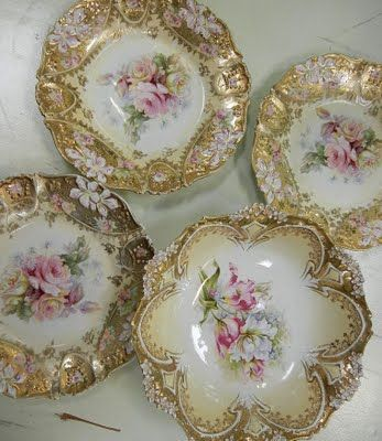 Antique R.S. Prussia transfer-decorated porcelain dishes.  Floral decoration, ornately molded, heavily guilded: Beautiful.