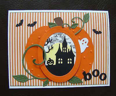 Stampin Up Handmade Halloween 4 Card Kit w sample, Haunted House, Ghost, Pumpkin in Crafts | eBay