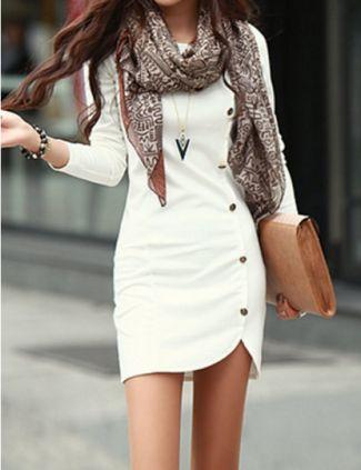 Button Design Long Sleeve Round Neck Pullover Women's Dress