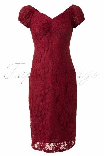 Collectif Clothing - 50s Dolores dress Lace Burgundy Red #topvintage