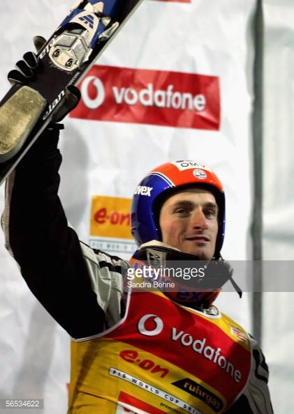 Jakub Janda of the Czech Republic celebrates winning the overall ranking of the FIS Ski Jumping World Cup event at the 54th Four Hills ski jumping...