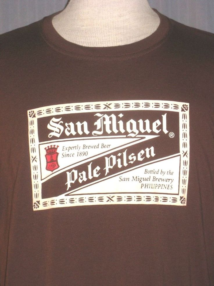 San Miguel Philippine Beer Adult Large Brown T-Shirt ( L Philippino Pinoy ) #MyPhilippines #BasicTee