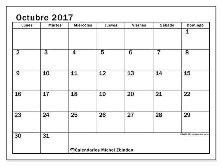 Calendario octubre 2017 para imprimir, gratis. Calendario mensual : Tiberius (L). La semana comienza el lunes