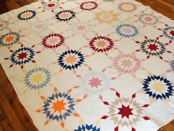 Antique Star of Bethlehem Quilt - Provenance + Dated 1921 Ida Hogan | eBay