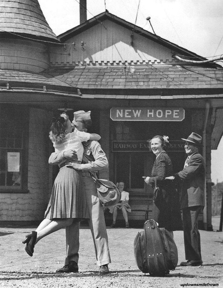 A loved one is swept off her feet by a returning GI in the aptly named town of New Hope, Pennsylvania, 1945 ~