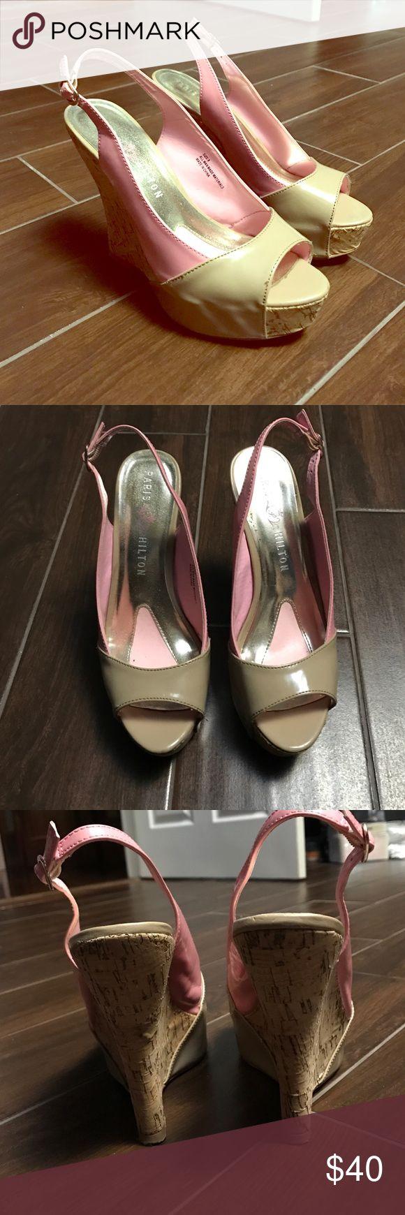 Paris Hilton wedges Pink and beige cork Paris Hilton Wedges size 8 Paris Hilton Shoes Wedges